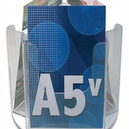 Porta depliant da banco girevole 3 tasche formato A5