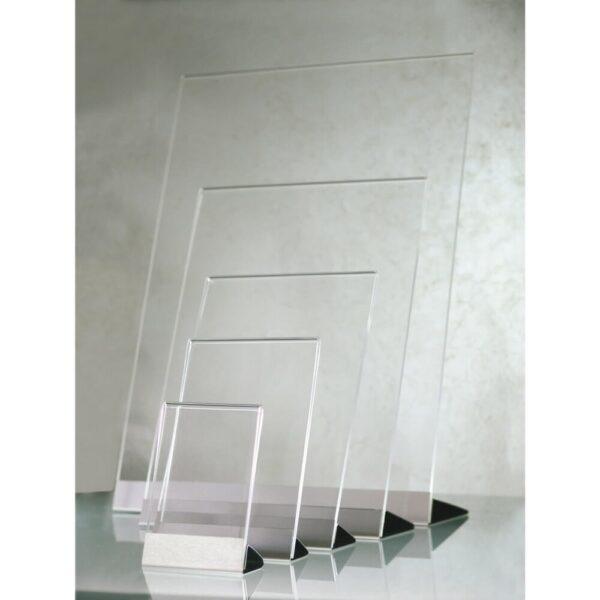 Portavvisi da banco con base in acciaio spazzolato silver cinque formati disponibili
